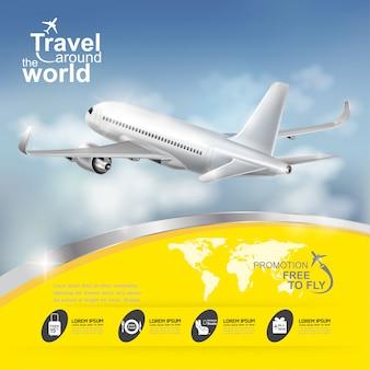 飛行機の概念世界旅行テンプレート