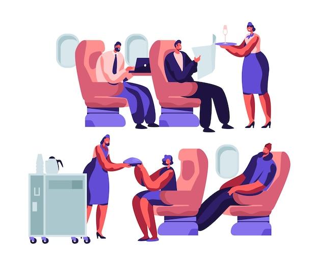 Экипаж самолета и персонажи-пассажиры на иллюстрации концепции самолета
