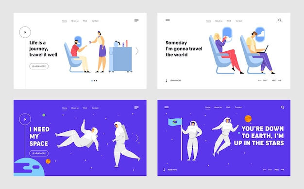 Airplane crew and passenger characters in plane, astronauts in space suits flying in outer space website landing page set