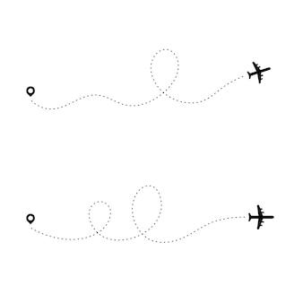 飛行機の点線のパス。ダッシュ旅行ラインルートポイント航空機パスフライトマップ旅行計画航空会社トレース。プレーンパス