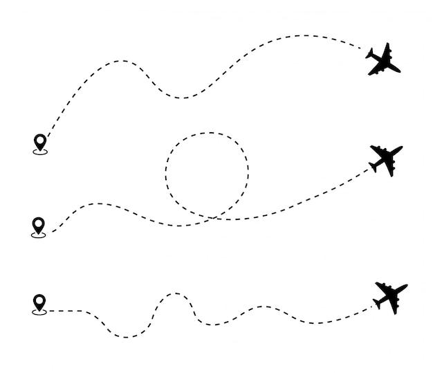 Самолет пунктирная линия маршрута