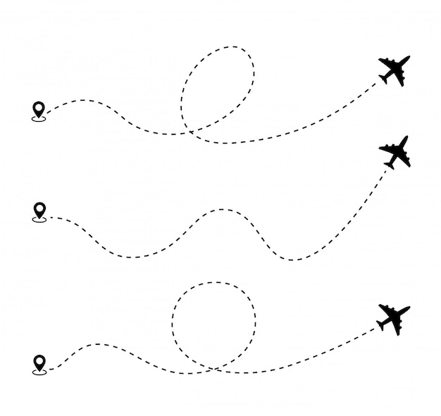 Airplane dotted route line