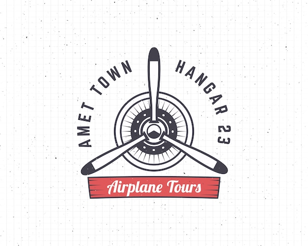 Airplane emblem. biplane logo retro plane propeller. air tour logo. travel logotype
