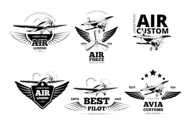 飛行機のエンブレムはラベルをベクトルします。航空のロゴ、飛行、最高のパイロットのイラスト