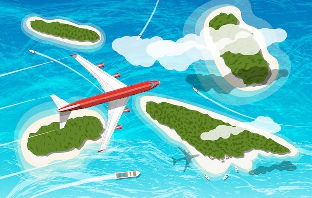 Airplane flies above few tropical islands