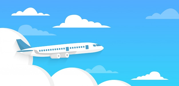 Airplane flies in the sky and cloud on blue background. concept time to travel.  in flat style.