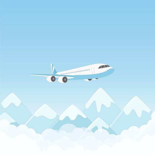 산 위에 비행하는 비행기 비행