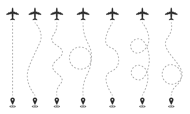 Airplane flight plan on a white background. the route of the aircraft in dashed lines, gps. flight starting point, tourism path. traces of a traveler in dashed lines.