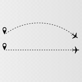 Airplane flight route airline path vector icon with starting point and dash line trace