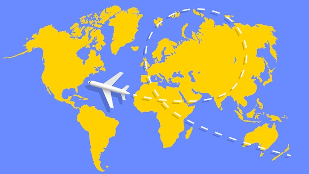 Airplane and flight trajectory on the world map.