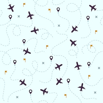 Airplane flights pattern. plane travel, avia traveling routes and aviation seamless