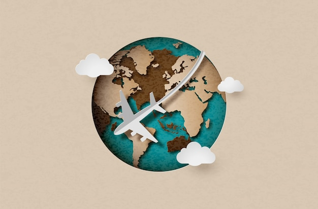 Airplane fly around the planet