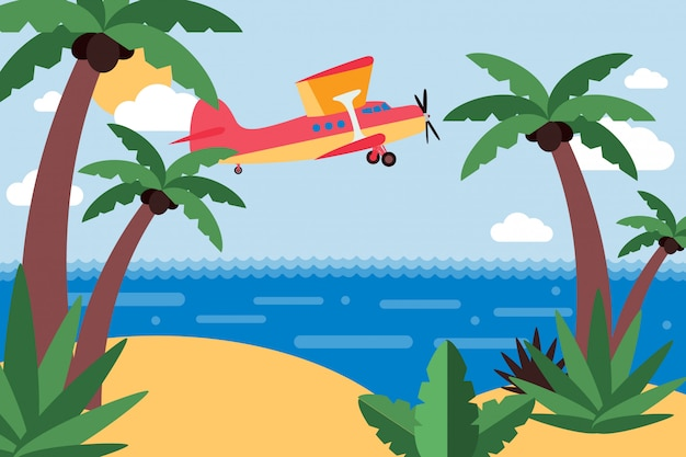 Airplane fly to tropical island, trip across ocean set  illustration. private transport flying cartoon, sandy island