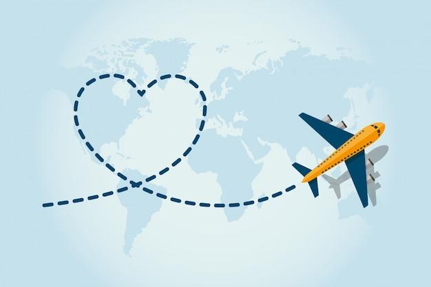 飛行機飛行機と青い破線の跡を残す