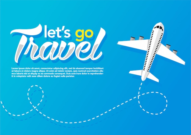 Airplane flying in blue background. web  banner