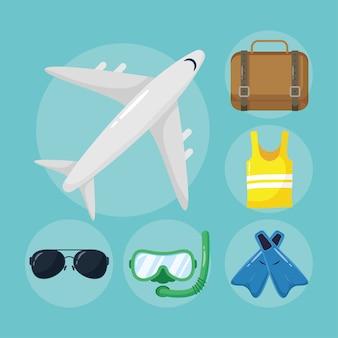 Airplane flying and flat style set icons illustration