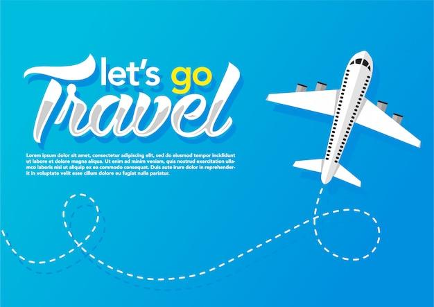青い背景に飛んでいる飛行機。 webバナー