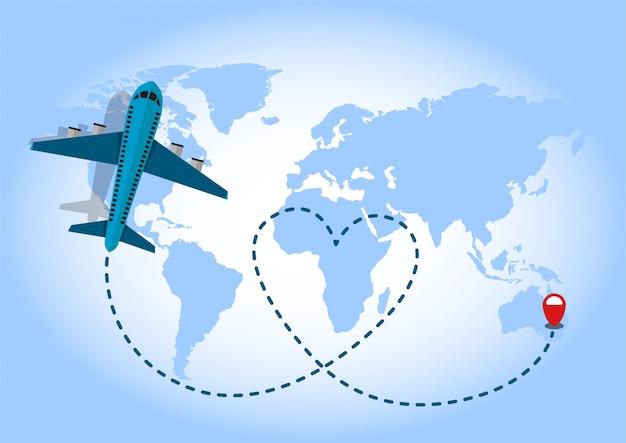 青い世界地図背景を飛んでいる飛行機。旅の愛の概念。