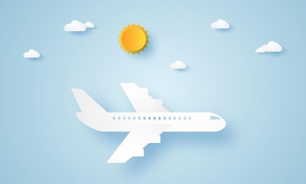 Самолет летит в небе в стиле бумажного искусства
