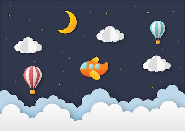 Airplane flying on night sky with balloon. paper art travel background.