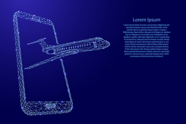 未来的な多角形の青い線からスマートフォンの画面から飛び立つ飛行機