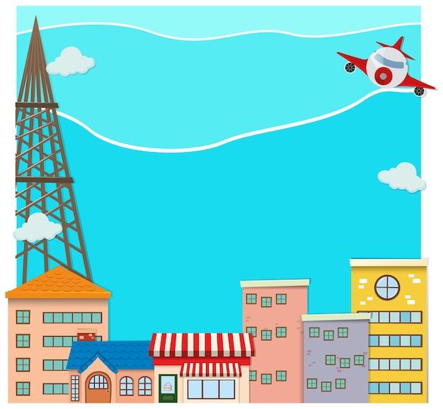 街の上空を飛ぶ飛行機