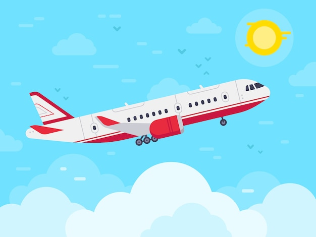 Airplane flying in sky, jet plane fly in clouds, airplanes travel and vacation aircraft flat
