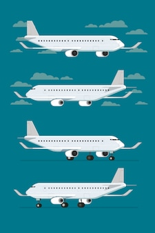 Airplane flying in sky and landed aircraft. vector illustration