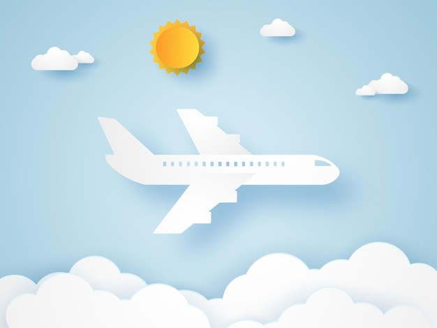 Airplane flying in the sky in paper art style