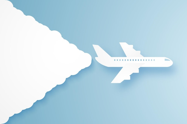 Airplane flying in the sky , paper art style