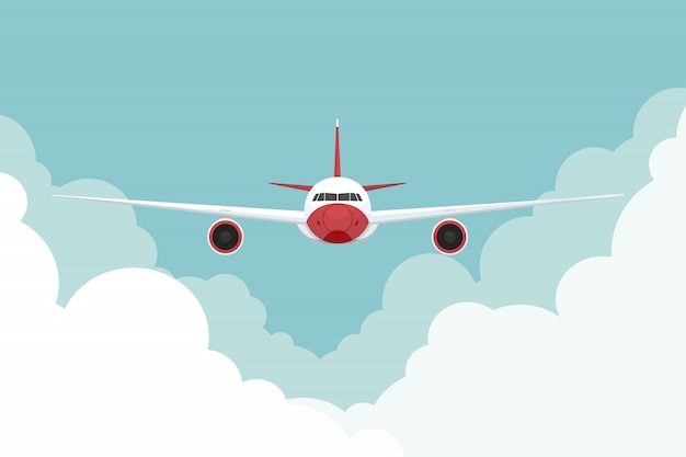 Airplane flying in sky. vector illustration