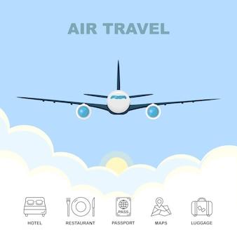 青い空に雲の切れ間から飛ぶ飛行機。空の旅。ホテル、レストラン、パスポート、地図、白い背景の上の荷物アイコン。