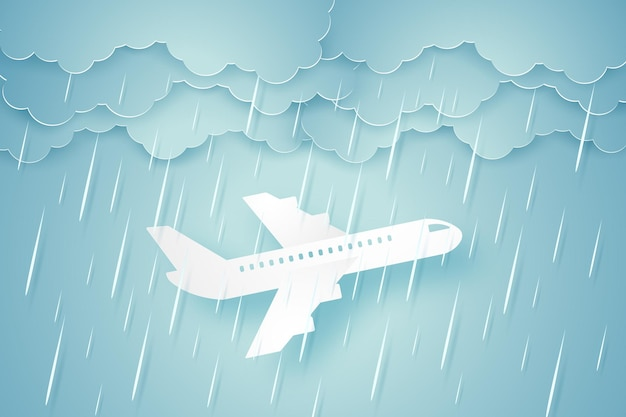 Airplane flying through a heavy rain in paper art style