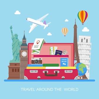 Airplane flying above tourists luggage, map, passport, tickets, photo camera and landmarks illustration