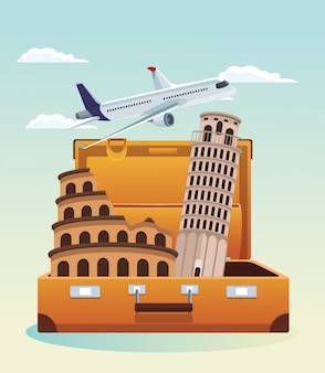 Airplane flying and travel suitcase with pisa tower and roma coliseum over sky