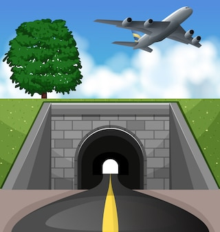 Airplane flying over the tunnel