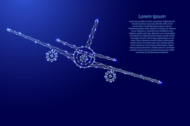 ロールで飛んでいる飛行機、未来的な多角形の青い線からの正面図、バナー、ポスター、グリーティングカードの輝く星。ベクトルイラスト。