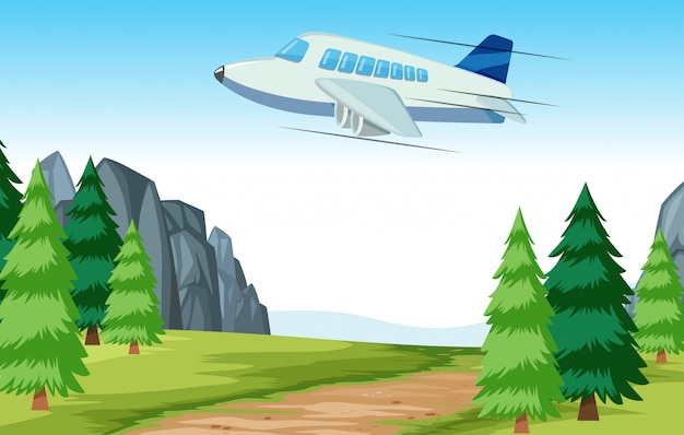 Airplane flying over woods