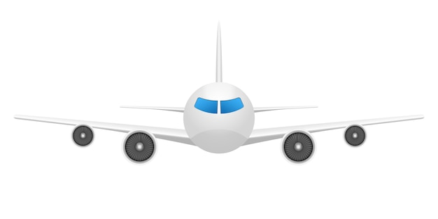 白い背景の上の飛行機正面図