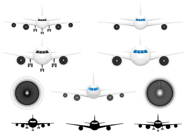 Airplane front view, isolated on white background