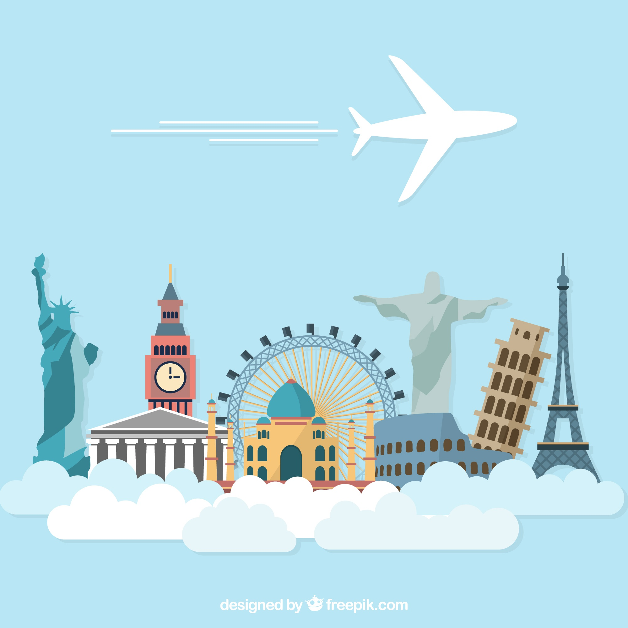 Airplane holidays travel with world monuments