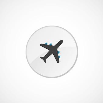 飛行機のアイコン2色、灰色と青、円のバッジ