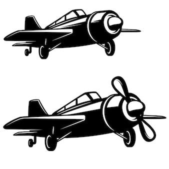 白い背景の上の飛行機のアイコン。ロゴ、ラベル、エンブレム、記号、バッジの要素。画像
