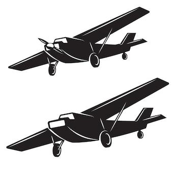 白い背景の上の飛行機のアイコン。ロゴ、ラベル、バッジ、記号の要素。図