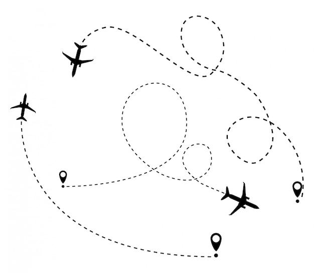 Самолет в пунктирной линии. путевая точка предназначена для туристической поездки.