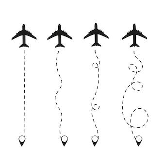 Самолет в пунктирной линии. путевая точка, предназначенная для туристической поездки. на белом фоне. туризм и путешествия.