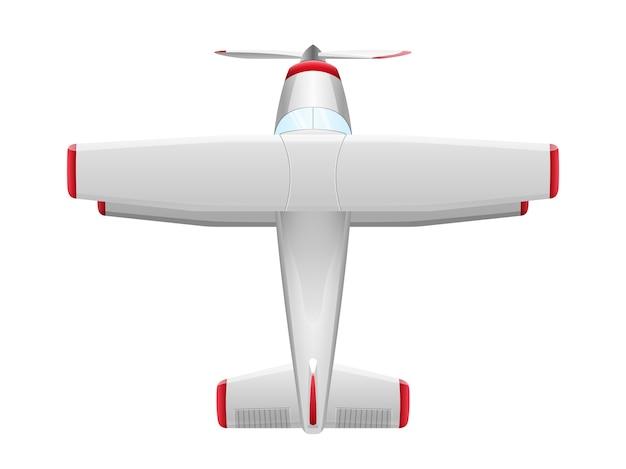 白い背景の上の漫画のスタイルの飛行機。農業用プロペラ飛行機、イラスト