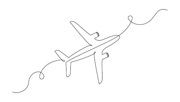 1つの連続線画の飛行機。編集可能なストローク。線形スタイルのシンプルなベクトル図