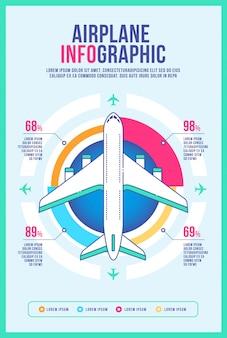 飛行機インフォグラフィックパンフレットデザインテンプレート、ビジネスリーフレット情報イラスト。