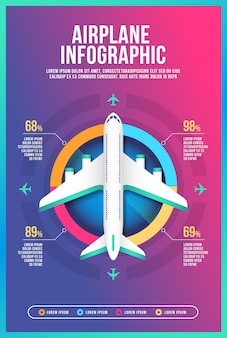 Airplane infographic template layout design